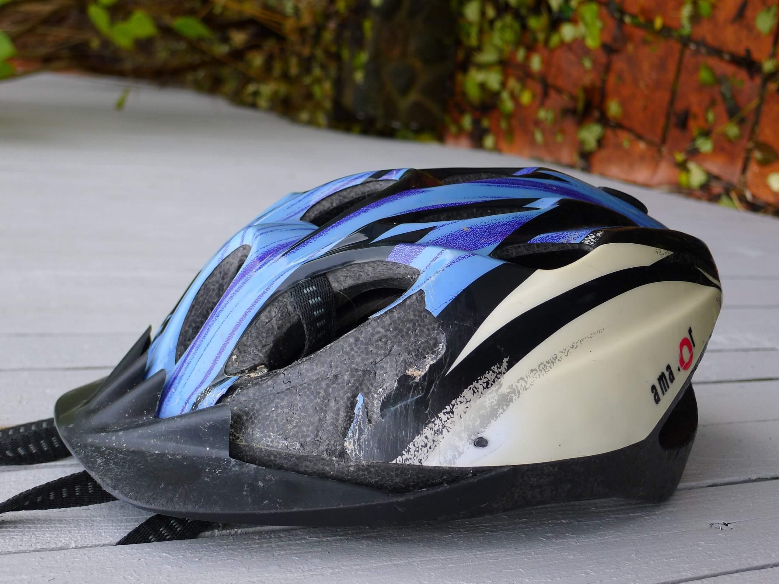 bicycle accident helmet after crash
